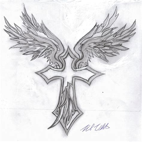 cross with angel wings tattoo meaning tribal wings cross by mullen1200 on deviantart