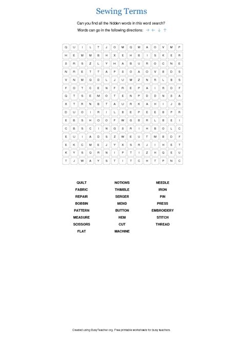 fabric pattern 2 words crossword sewing terms word search puzzle