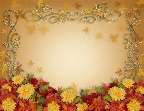Wedding Car Fall by Thanksgiving Fall Leaves Flowers Border Stock Photo