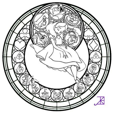 mandala stained glass coloring books alice stained glass line art by akili amethyst d4vrh52