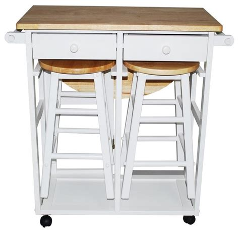 Kitchen Island Cart With Stools | breakfast cart table with 2 stools white contemporary