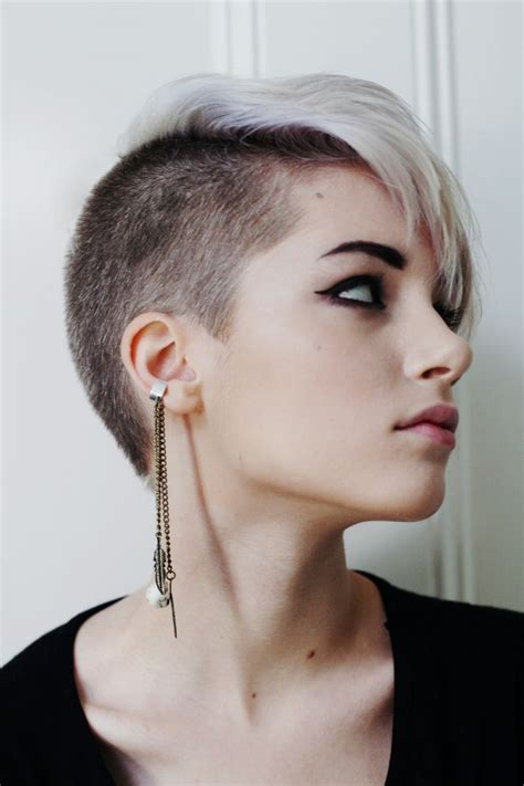 pixie cut back on pinterest shaved nape edgy pixie hair platinum with black buzzed nape side game ideas girl