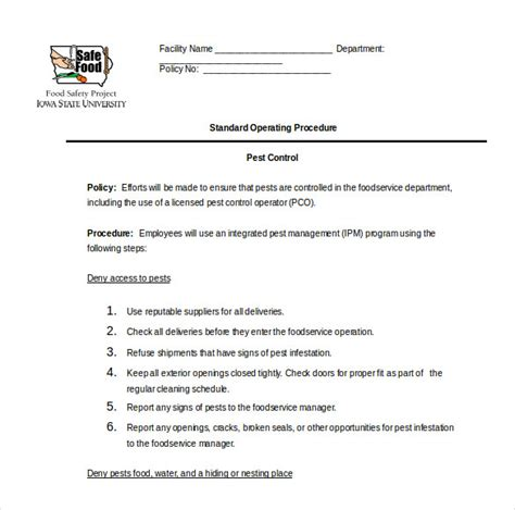 Pest Policy Template sop template standard operating procedure template free
