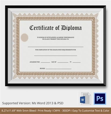 ged certificate template download diploma certificate