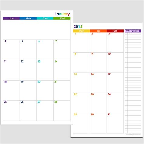 2 page monthly calendar template 7 best images of 2016 printable calendar templates 8 12 x
