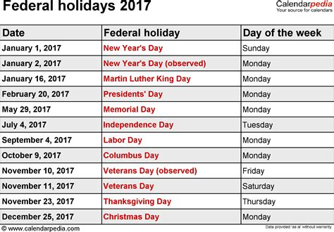 Calendar 2017 Excel With Holidays India Federal Holidays 2017