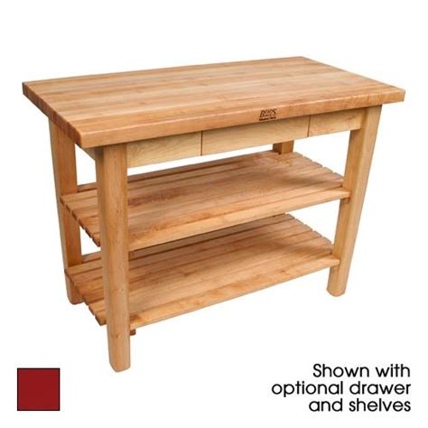 john boos classic country work table kitchen island 48 quot x john boos c4824 d s bn 48 quot barn red classic country