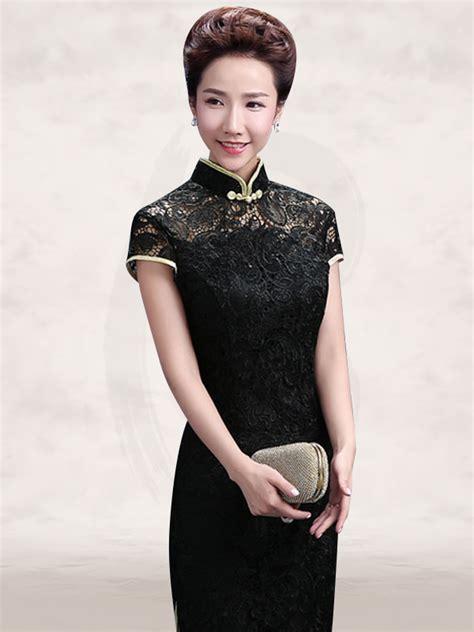 black lace mandarin collar cap sleeve sheath