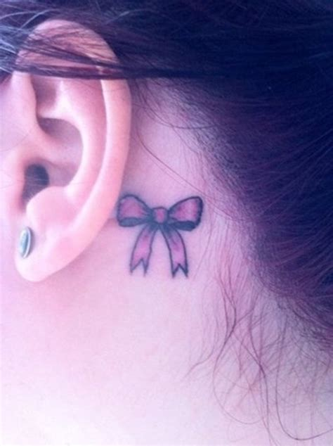 ribbon tattoo behind ear ribbon behind the ear tattoo design for women behind ear