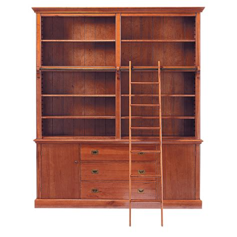 wood ladder bookcase solid wood bookcase with ladder w 193cm voyage maisons