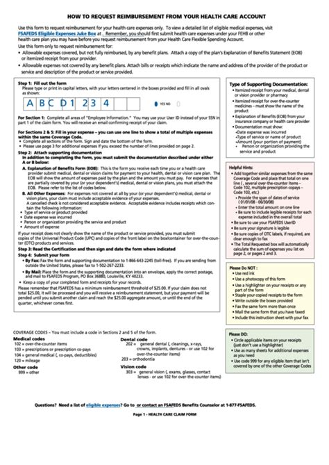 Fsafeds Health Care Fsa Claim Form Printable Pdf Download Fsa Plan Document Template