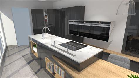 cuisine moderne avec ilot phenix gris anthracite  bois