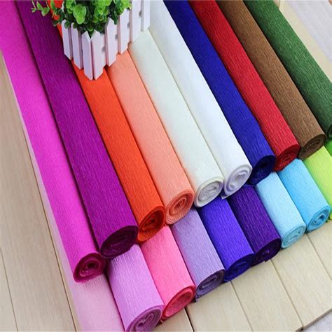 Crafts With Colored Paper - 250 50cm colored crepe paper roll for flowers decoration