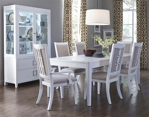 Dining Room: modern white dining room table and chairs