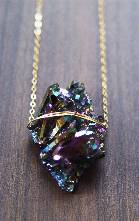 titanium druzy necklace one of a