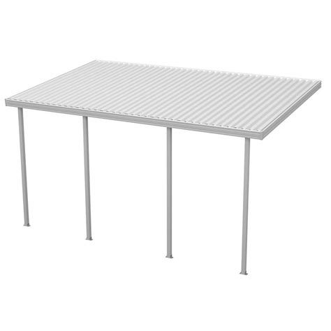 aluminum attached solid patio cover four seasons building products 20 ft x 10 ft white aluminum attached solid patio cover with 4