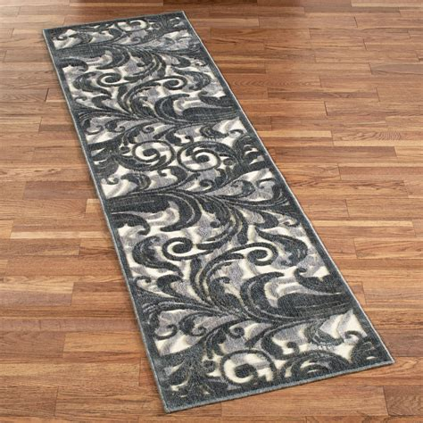runner rug tantalizing graphic scroll ivory gray rug runner