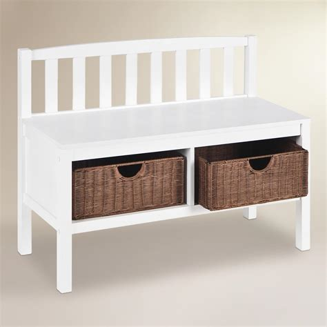 White Storage Bench White Oakdale Storage Bench World Market