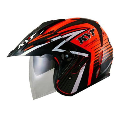 Helm Kyt Venom Rr2 Solid jual kyt venom rr 2 radiation fluo edt helm half fluo black harga