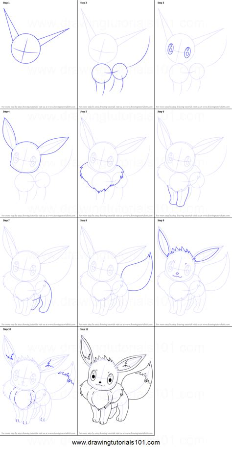 doodle drawings step by step how to draw eevee from printable step by step
