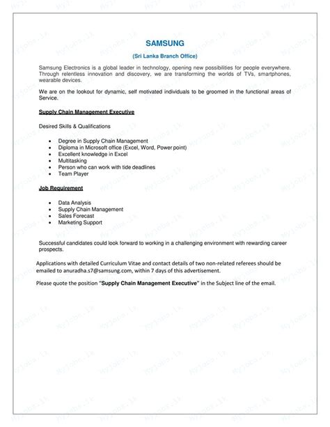 Mba In Supply Chain Management In Sri Lanka by Supply Chain Management Executive In Sri Lanka