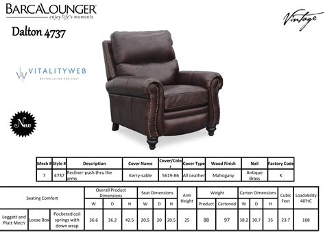 Recliner Dimensions by Barcalounger Dalton Ii Recliner Chair Leather Recliner