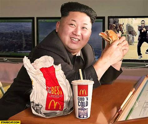 kim jong un eating mcdonald s photoshopped starecat com