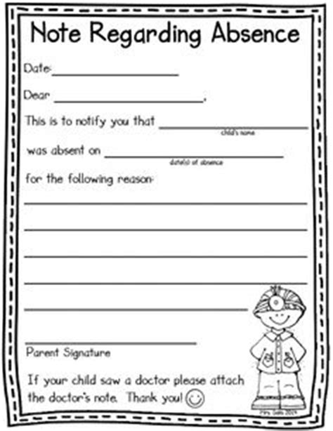 Excuse Letter For Pre K I Organizing On Weekly Menu Planners