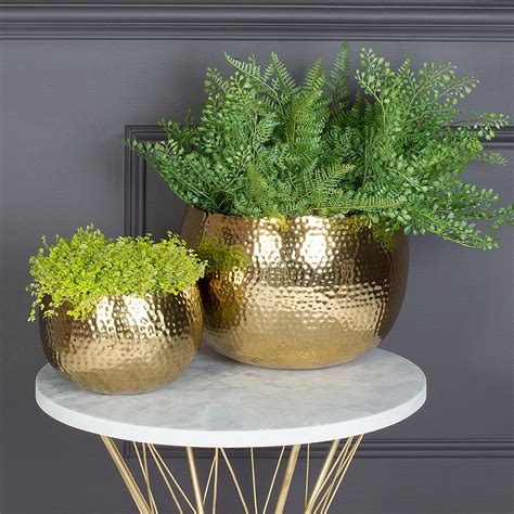 hammered gold plant pots planters audenza