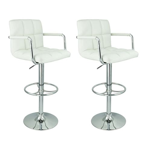 White Swivel Bar Stools With Arms by Furniture Square Ruffle White Leather Swivel Bar Stools