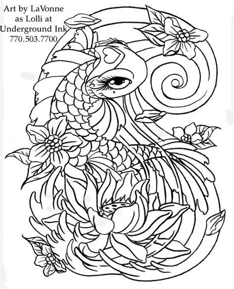 girly koi fish tattoo designs girly koi cb and lotus linwork by lavonne on deviantart