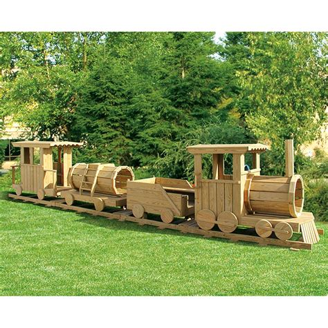 train swing set amish made 25 ft long wooden 4 piece train playground set