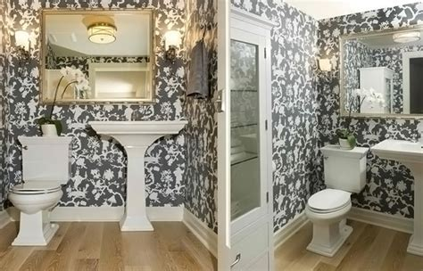 Black and White Wallpaper in 15 Bathrooms and Powder Rooms