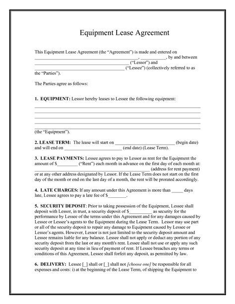 rental agreement template free 10 best images of equipment rental agreement template free