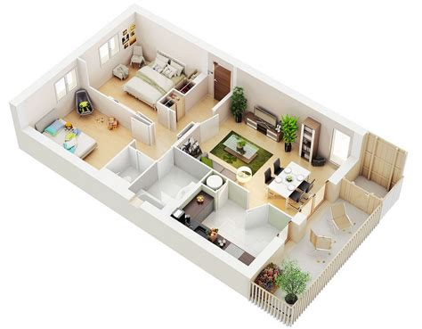 3d floor plan 25 two bedroom house apartment floor plans