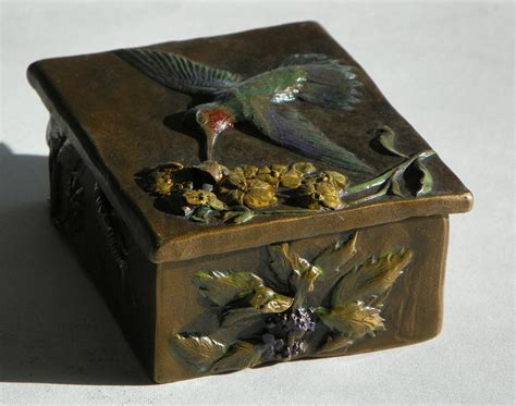 hummingbird box with painted patina wild mint side