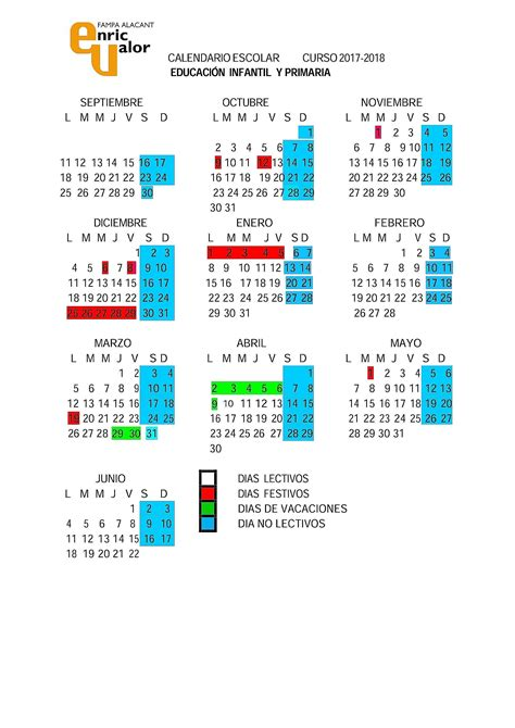 calendario 2018 alicante 28 images calendario escolar
