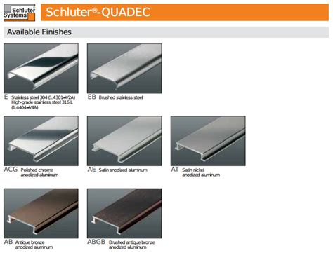 schluter colors schluter quadec finishing and edge protection profiles
