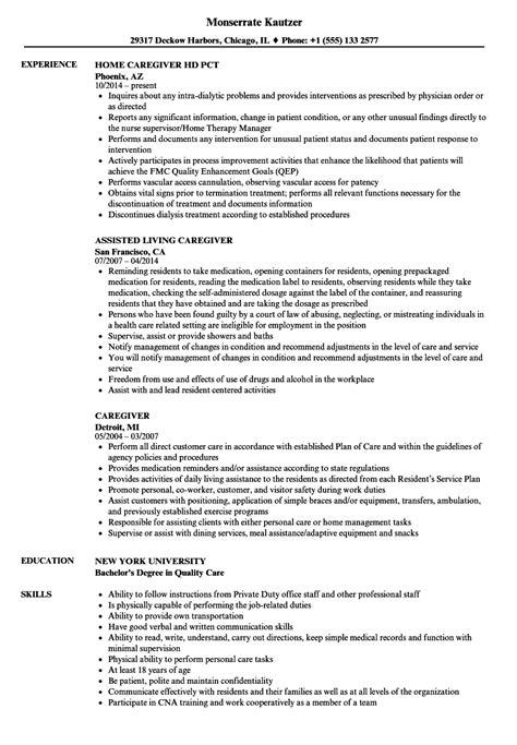 Caregiver Professional Resume Templates Sample
