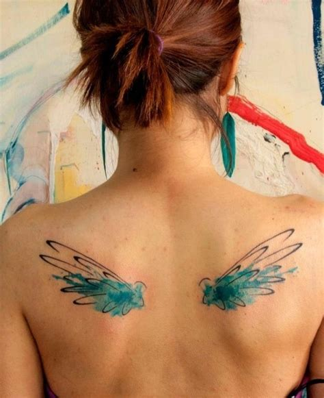 watercolor back tattoo watercolor wings tattoos on back for girls tattooshunt com