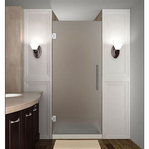 Frosted Glass Shower Door Aston Cascadia 30 In X 72 In Completely Frameless Hinged Shower Door With Frosted Glass In