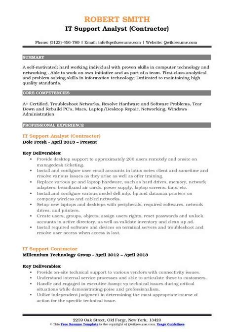 It Support Resume by It Support Analyst Resume Sles Qwikresume