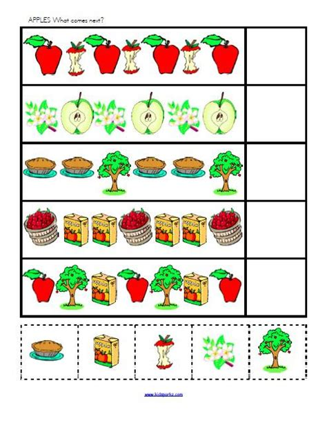 Apple Pattern For Kindergarten | free coloring pages of counting apples worksheet
