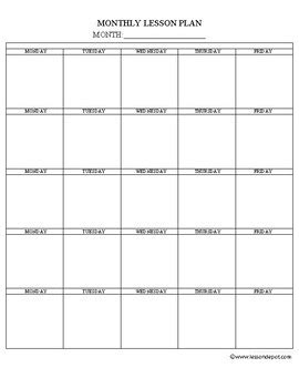 monthly lesson plan template fun teaching tpt