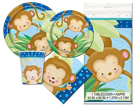 Monkey Baby Shower Plates by Boy Monkey Baby Shower Deluxe Pack Serves 16 Plates