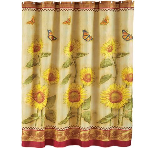 sunflower shower curtains butterfly and sunflower shower curtain by collections etc