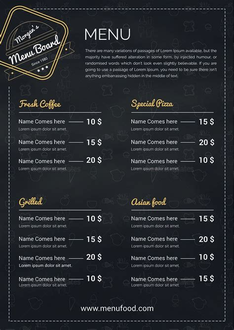 simple restaurant menu board design template in psd word