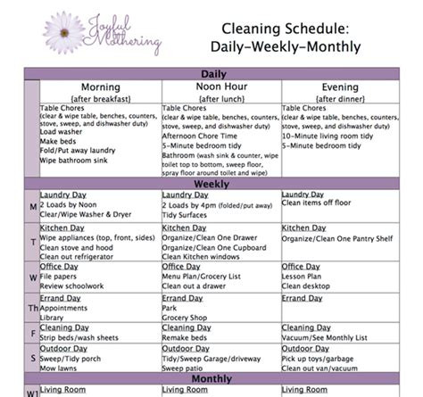 10 best images of weekly cleaning chart daily house