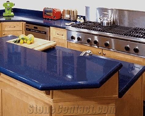 Blue Kitchen Countertops Shining Blue Quartz With Bright Surface For Prefab Countertops Your Kitchen