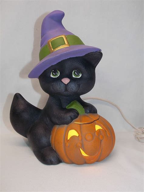 black cat  jack  lanternwitch hat ceramic electric